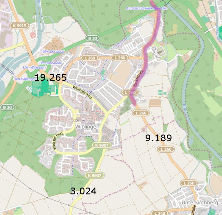 Karte mit DTV-Zahlen für Wiblingen